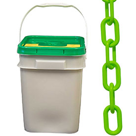 "Plastic Chain 1-1/2"" Links In A Pail Safety Green 300 Feet Trade Size 6 by"