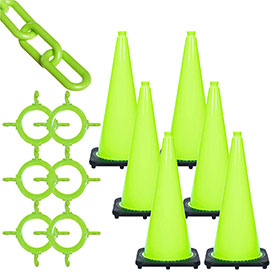 Mr. Chain Traffic Cone & Chain Kit Safety Green, 93214-6 by