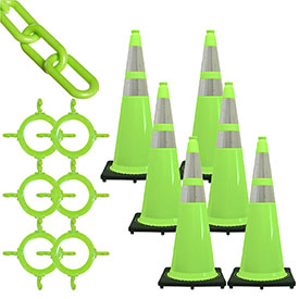 Mr. Chain Traffic Cone & Chain Kit with Reflective Collars, Safety Green, 93277-6 by