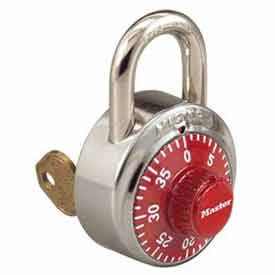 Master Lock® General Security Combo Padlock, Key Control, LF Shackle, Red