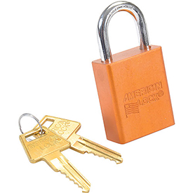 American Lock® Solid Aluminum Rectangular Padlock, Orange - No A1105orj - Pkg Qty 6