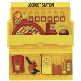 "Master Lock® Lockout Station, 16 Hanger Clips, 23-1/2""W X 4-1/2""D X 27""H, Deluxe"