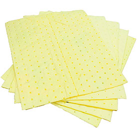 "MBT Yellow Fine Fiber Hazmat Medium Weight Pads 100/Bale 18"" x 15"""