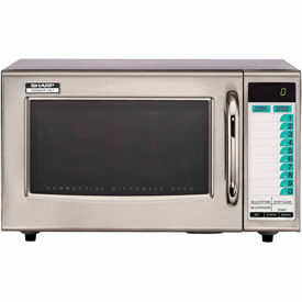 Sharp R-21-LTF Commercial Microwave Oven, Medium Duty, 1000W, 1.0 Cu. Ft., Stainless Steel by