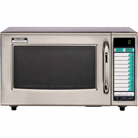 Sharp R-21-LVF Commercial Microwave Oven, Medium Duty, 1000W, 1.0 Cu. Ft., Stainless Steel by