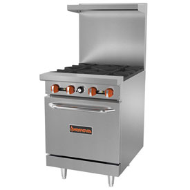 Sierra Range SR-4-24 Restaurant Range, 4 Burners, Natural Gas, Oven, S/S, Cast Iron... by
