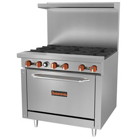 Sierra Range SR-6-36 Restaurant Range, 6 Burners, Natural Gas, Oven, S/S, Cast Iron... by
