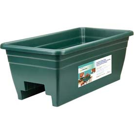 "Akro-Mils Deck Rail Box Planter SPX24DB0B24, 24""L X 12""W X 16-1/2""H, Hunter Green"