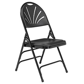 Plastic Folding Chair - Triple Brace - Black - Pkg Qty 4