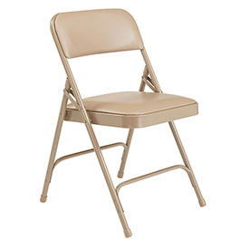 Vinyl Folding Chair - Beige Vinyl/Beige Frame - Pkg Qty 4