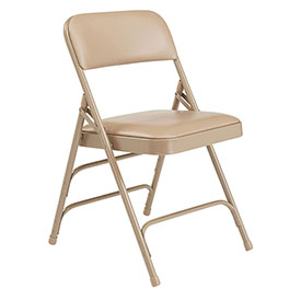 Vinyl Folding Chair - Triple Brace - Beige Vinyl/Beige Frame - Pkg Qty 4