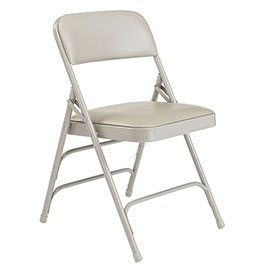 Vinyl Folding Chair - Triple Brace - Gray Vinyl/Gray Frame - Pkg Qty 4