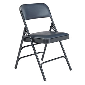 Vinyl Folding Chair - Triple Brace - Blue Vinyl/Blue Frame - Pkg Qty 4