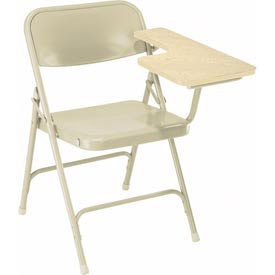 Steel Folding Chair with Left Table Arm - Tan Chair with Oak Table Arm - Pkg Qty 2