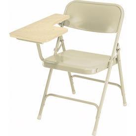 Steel Folding Chair with Right Table Arm - Tan Chair with Oak Table Arm - Pkg Qty 2