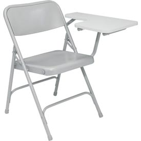 Steel Folding Chair with Left Table Arm - Gray Chair with Gray Table Arm - Pkg Qty 2