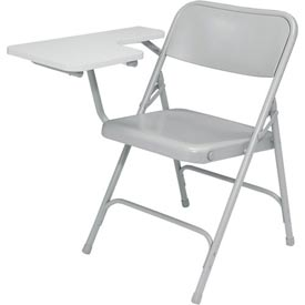 Steel Folding Chair with Right Table Arm - Gray Chair with Gray Table Arm - Pkg Qty 2