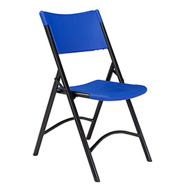 Folding Chair - Blow Molded Resin - Blue - Pkg Qty 4