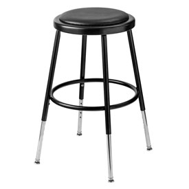 "19""-27"" Height Adjustable Vinyl Padded Stool - Backless - Black"