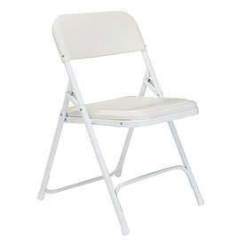 Plastic Folding Chair - White Seat/White Frame - Pkg Qty 4