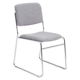 Stacking Chair - Fabric - Gray - Pkg Qty 2