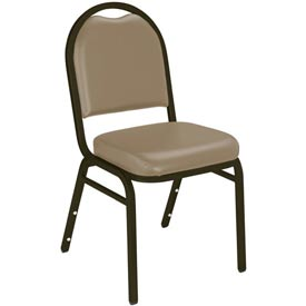 "Stacking Chair - 2"" Vinyl Seat - Dome Back - Beige Seat with Brown Frame"