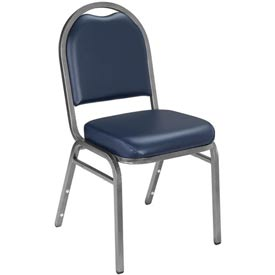 "Banquet Stacking Chair - 2"" Vinyl Seat - Dome Back - Blue Seat with Silver Frame"