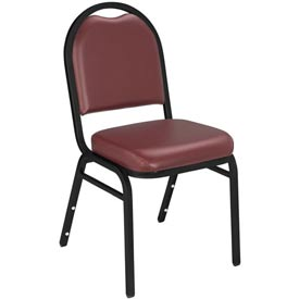 "Stacking Chair - 2"" Vinyl Seat - Dome Back - Burgundy Seat with Black Frame"