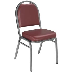 "Stacking Chair - 2"" Vinyl Seat - Dome Back - Burgundy Seat with Silver Frame"