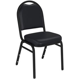 "Stacking Chair - 2"" Vinyl Seat - Dome Back - Black Seat with Black Frame"