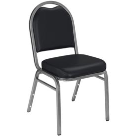 "Stacking Chair - 2"" Vinyl Seat - Dome Back - Black Seat with Silver Frame"