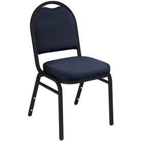 "Stacking Chair - 2"" Fabric Seat - Dome Back - Blue Seat with Black Frame"