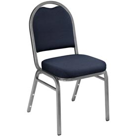 "Stacking Chair - 2"" Fabric Seat - Dome Back - Blue Seat with Silver Frame"