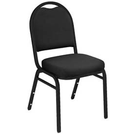 "Stacking Chair - 2"" Fabric Seat - Dome Back - Black Seat with Black Frame"