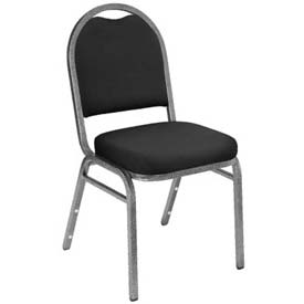 "Banquet Stacking Chair - 2"" Fabric Seat - Dome Back - Black Seat with Silver Frame"