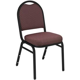 """NPS Stacking Chair - 2"""" Fabric Seat - Dome Back - Burgundy Seat with Black Frame"""