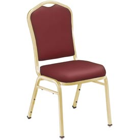"NPS Stacking Chair - 2"" Vinyl Seat - Silhouette Back - Burgundy Seat with Gold Frame - Pkg Qty 2"