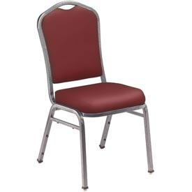 "Stacking Chair - 2"" Vinyl Seat - Silhouette Back - Burgundy Seat with Silver Frame - Pkg Qty 2"