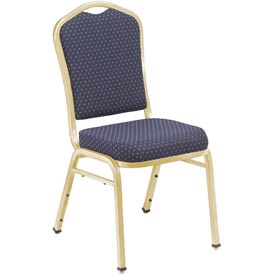 "NPS Stacking Chair - 2"" Fabric Seat - Silhouette Back - Navy Seat with Gold Frame - Pkg Qty 2"
