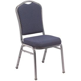 "Banquet Stacking Chair - 2"" Fabric Seat - Silhouette Back - Navy Seat with Silver Frame - Pkg Qty 2"