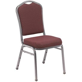"Stacking Chair - 2"" Fabric Seat - Silhouette Back - Burgundy Seat with Silver Frame - Pkg Qty 2"