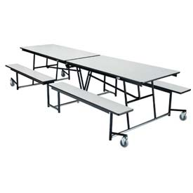 NPS® 12' Mobile Cafeteria Table with Fixed Bench - Plywood - Gray