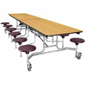 NPS 10' Mobile Cafeteria Table with Stools - Plywood - Light Oak Top/Burgundy Stools