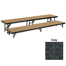 "2 Level Straight Riser with Carpet - 96""L x 18""W - 8""H & 16""H - Grey"