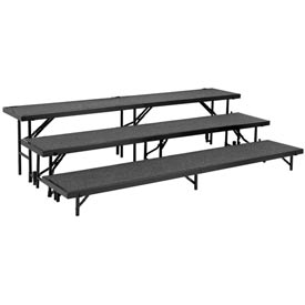 "3 Level Tapered Riser with Carpet - 60""L x 18""W - 8""H, 16""H & 24""H - Grey"