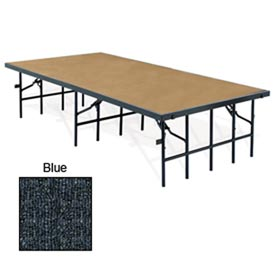 "Portable Stage with Carpet - 96""L x 36""W x 24""H - Blue"
