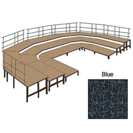 "36""W Carpet Stage Configuration w/9 Stage Units, 12 Pie Units & Guard Rails-Blue"