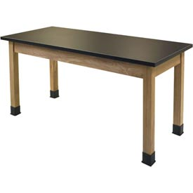 "NPS Science Lab Table - Chemical Resistant Top - 24""W x 60""L x 36""H - Black/Oak Legs"