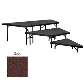 "Stage Pie Set with Carpet for 36""W Stage Units - 8""H, 16""H & 24""H - Red"