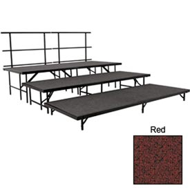 """Stage Set with Carpet - 96""""L x 36""""W - 8""""H, 16""""H, 24""""H & Two Guard Rails - Red"""